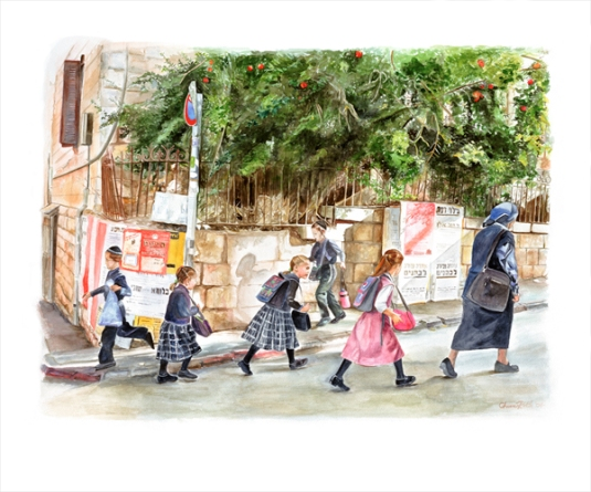 school girls - judaica fine art